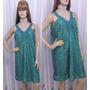 Vestido Em Renda Azul Forrado Com Tecido Verde Cana
