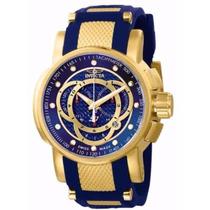 Relógio Invicta S1 Rally Dourado Azul Original + Caixa