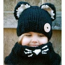 Gorro Y Cuello Niña Estambre, Crochet Gato Negro!!