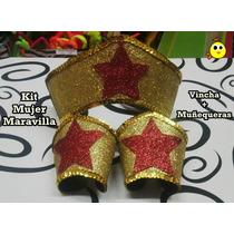 Vincha + Muñequeras Mujer Maravilla - Kit Para Disfraz !!