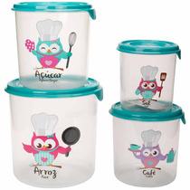 Conjunto Potes Para Guardar Alimentos Mantimentos Jogo 4 Pçs