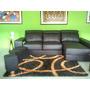 Sofa Modular Mueble De Sala De Cuero 3 Puestos + 3 Puff