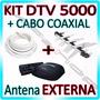 Kit Conversor Digital Aquario + Antena Externa+ Cabo Coaxial