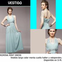 *fashionstore* Romina Blue Dress, Vestido Color Menta