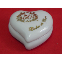 Lembranças Porcelana Porta Joia Coração Decorada Bodas Ouro