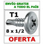 Tornillo T1 8x1/2 Autoperforante Wafer Punta Mecha X10000u