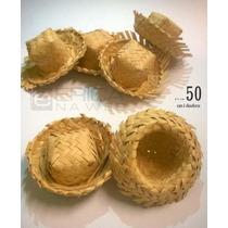 50 Mini Chapéu De Palha Lembrancinha Junina Enfeite Doces