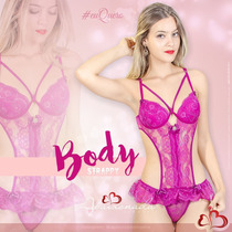 Body Top Renda Lingerie C/ Bojo Strappy Luxo Laço Strass