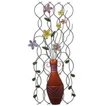 Enfeite De Ferro Vaso Flores Para Parede Jardim Decorativo