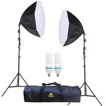 Kit Iluminação Contínua 750w Newborn Filmagem Octa 55cm 220v