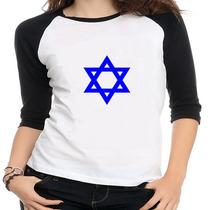 Camiseta Raglan Bandeira Israel - Feminina