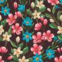 Papel De Parede Floral Flores Rosas Azuis E Brancas (paf97)