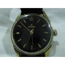 Reloj Nivada Vintage Cuerda Caratula Negra De Colección