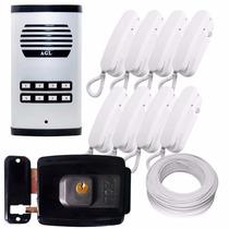 Kit Interfone Agl 8 Pontos + 8 Mono. + Fechadura 12v + Cabo