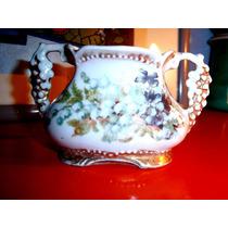 Muy Antigua Jardinera C/asas Porcelana Alemana Flores Y Oro
