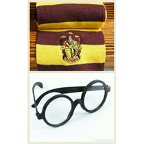 Kit 2pc Cachecol Grifinória + Óculos Fantasia Harry Potter