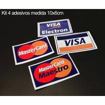 Kit 4 Adesivos Cartão De Crédito Adesivos Visa Mastercard