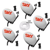 Kit 5 Antenas Ku + 5 Lnb Simples + 100m Cabo