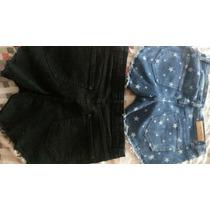 Short Mini De Moda En Color Jean Y Negro Con Tachas