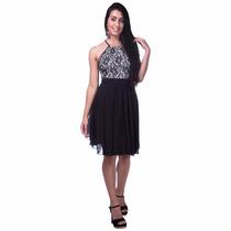 Vestido Feminino 3d Curto Antix Preto E Branco 15 Anos