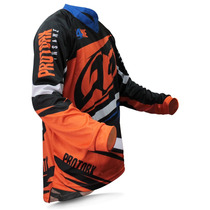 Camisa Motocross Protork Insane 4 Laranja Azul Trilha Enduro