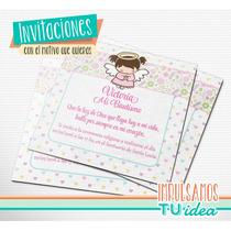 Bautismo Nena - Invitación Para Imprimir Con Angelita