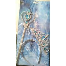 Corona Tiara Cetro Varita Disfraz De Frozen Ana Y Elsa