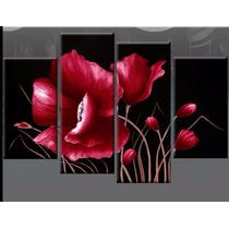 Cuadros Florales Tripticos Modernos Pintados A Mano