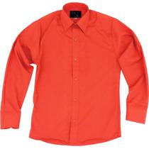 Camisa Vestir Infantil Juvenil Bailables Salidas Naranja