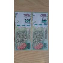 Lote 2 Billetes 500 Yaguarete Correlativos S/c Nuevos!!