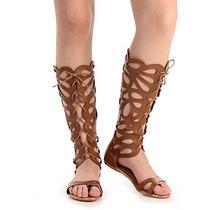 Sandália Rasteira Gladiadora Feminina Brenda Lee - Camel