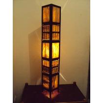 Luminária Rustica Artesanal Coluna Em Fibra De Coqueiro