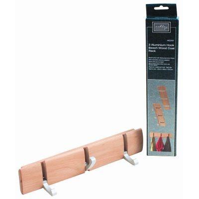 Perchero de madera de haya c 3 ganchos de aluminio 169 for Ganchos de aluminio para ropa