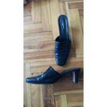 Amo Zapatos Cuero Negros 38 Suela Febo Muy Poco Uso