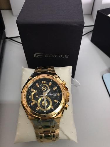 b0dad3a5f33a Relógio Casio Masculino Edifice Ef-558d-1avudf. Dourado Pret - R  278
