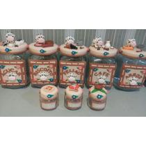 Kit Potes De Mantimentos Em Biscuit 5 Unidades + Brinde