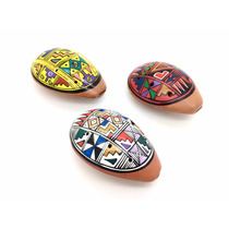 Pr 3 Ocarinas Peruana Cerâmica Pintada A Mão Cores Sortidas