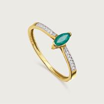 Anel Em Ouro 18k (750) Com Diamantes E Esmeralda
