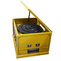 Radio Vitrola Gravadora Disco Vinil Am Fm Cd Aux Cassete Usb