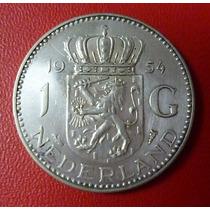 Holanda Moneda De Plata Reina Juliana 1 Gulden Au 1954