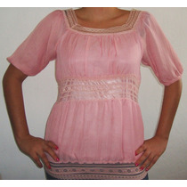 Blusa Para Dama Encajes Chifon Bordada