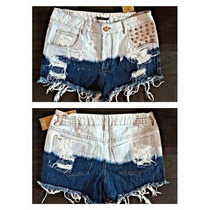 Short Jeans Destroyed Degrade Hot Customizado Desfiado