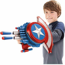 Escudo Capitão América Lança Atira Dardos Nerf Guerra Civil