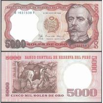 Peru Billete De 5000 Soles De Oro 1985 Sin Circular Mineros