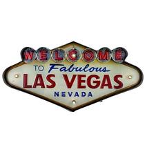 Placa Metal Las Vegas Com Led - Linda, Frete Grátis!!!