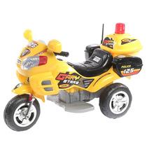 Moto Policia A Bateria Intermedia 6 Volts Luz Y Sonido