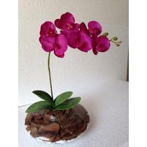 Arranjo De Orquídea Artificial Com Vaso De Vidro.
