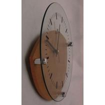 Moderno Reloj Pared De Vidrio De 28 Cm Diámetro Base Madera