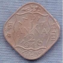 India 1/2 Anna 1946 * Colonia Inglesa * George Vi * Cuadrada