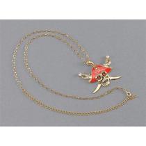 Disfraz De Pirata - Collar Dorado D/metal C/ Calavera/huesos